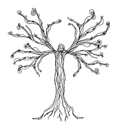 Sketch of a tree in black ink with a white background